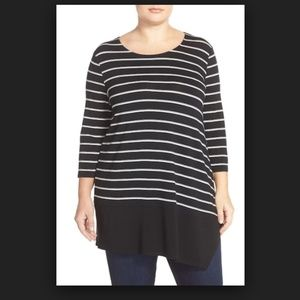 Vince Camuto Duet Stripe Asymmetrical Hem Shirt 2X